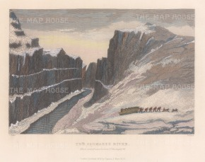 Saumarez River: Men and dogs pulling sledge in valley by river. 2nd Arctic Expedition 1829-33.