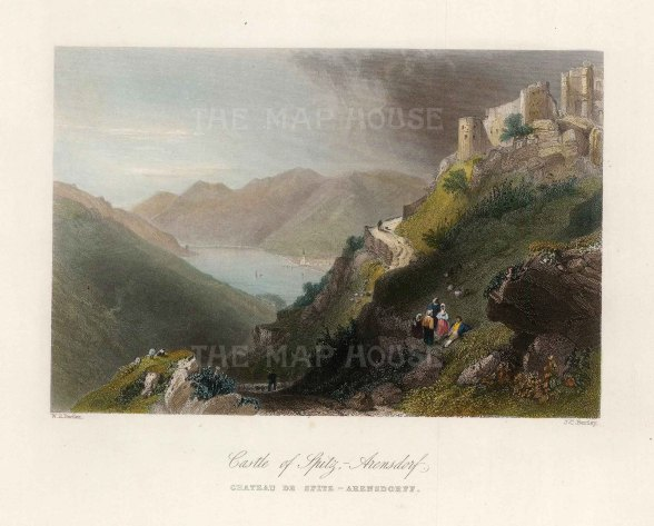 "Bartlett: Spitz-Arensdorf Castle. c1840. A hand coloured original antique steel engraving. 8"" x 6"". [AUTp232]"