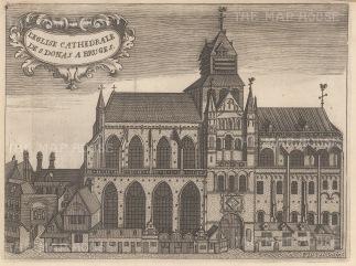 "Van der Aa: St. Donatian's Cathedral, Bruges. c1727. An original antique copper engraving. 8"" x 6"". [BELp261]"