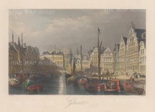 "Allom: Ghent. 1840. A hand coloured original antique steel engraving. 7"" x 4"". [BELp273]"