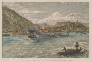"""Illustrated London News: Budapest, Hungary. 1881. A hand coloured original antique wood engraving. 10"""" x 7"""". [CEUp524]"""