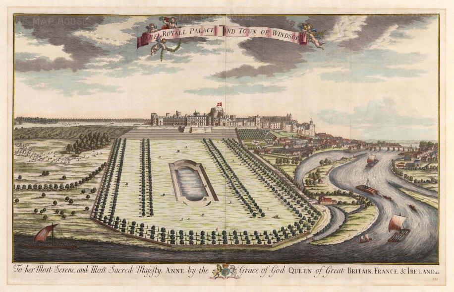 """Kip: Windsor Castle. 1715. An original antique copper engraving. 36"""" x 23"""". [ENGp213]"""