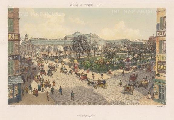 """Hoffbauer: Temple Square, Paris. 1881. A hand coloured original antique lithograph. 14""""x 10"""". [FRp1050]"""
