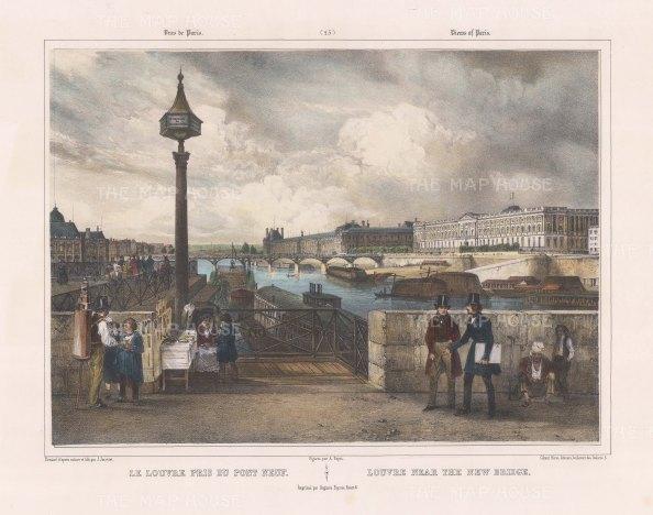 """Benoist: Louvre, Paris. c1850. A hand coloured original antique lithograph. 18"""" x 12"""". [FRp1250]"""