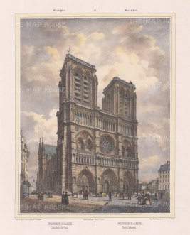 "Benoist: Notre Dame, Paris. c1850. A hand coloured original antique lithograph. 12"" x 18"". [FRp1351]"