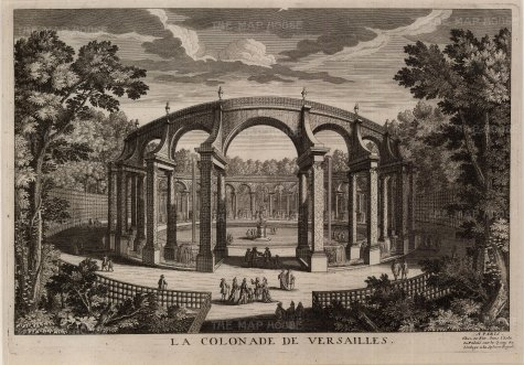 Versailles: Perspective of the Colonnade within the gardens.