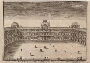 """de Fer: Louvre, Paris. 1704. An original antique copper engraving. 14"""" x 10"""". [FRp1409]"""