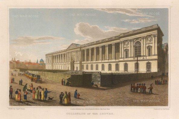 """Lieut. Col. Batty: Louvre, Paris. 1821. A hand coloured original antique steel engraving. 9"""" x 6"""". [FRp1531]"""