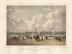 """Benoist: Place de la Concord, Paris. c1850. A hand coloured original antique lithograph. 18"""" x 12"""". [FRp1609]"""