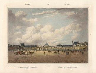 """Benoist: Chateau des Tuileries, Paris. c1850. A hand coloured original antique lithograph. 18""""x 12"""". [FRp1611]"""