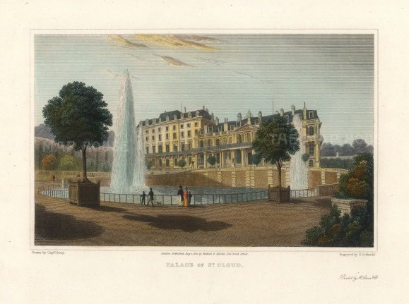 """Lieut. Col. Batty: Palais de St Cloud, Paris. 1821. A hand coloured original antique steel engraving. 9"""" x 6"""". [FRp1622]"""