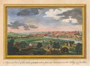 """Hogg: Paris. 1793. A hand coloured original antique copper engraving. 10"""" x 6"""". [FRp1630]"""