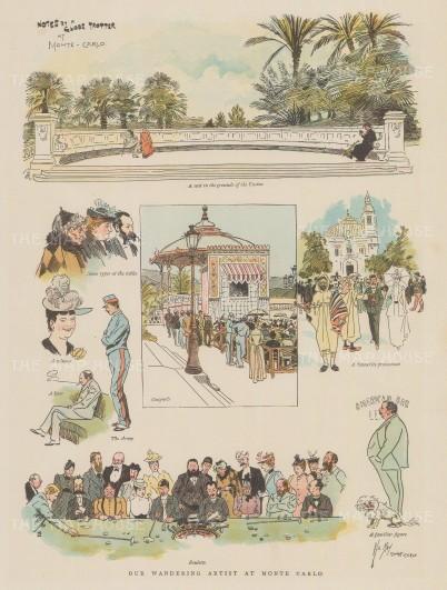 "Graphic Magazine: Monte Carlo, Monaco. c1880. A hand coloured original antique wood engraving. 9"" x 13"". [FRp1652]"