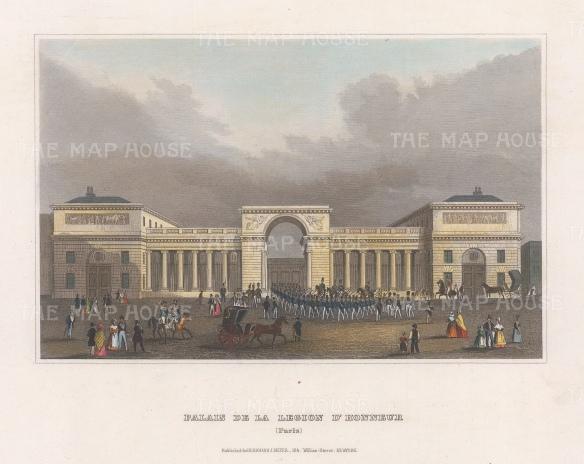"""Meyer: Palais de la Legion d'Honneur, Paris. 1836. A hand coloured original antique steel engraving. 8"""" x 6"""". [FRp1657]"""