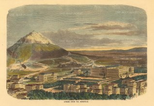 "Collins: Athens. c1870. A hand coloured original antique wood engraving. 10"" x 7"". [GRCp877]"