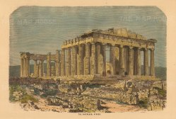 "Collins: Parthenon, Athens. c1870. A hand coloured original antique wood engraving. 10"" x 7"". [GRCp878]"