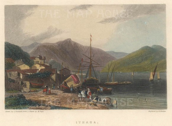 "Fullarton & Co.: Ithaca. 1856. A hand coloured original antique steel engraving. 5"" x 4"". [GRCp880]"