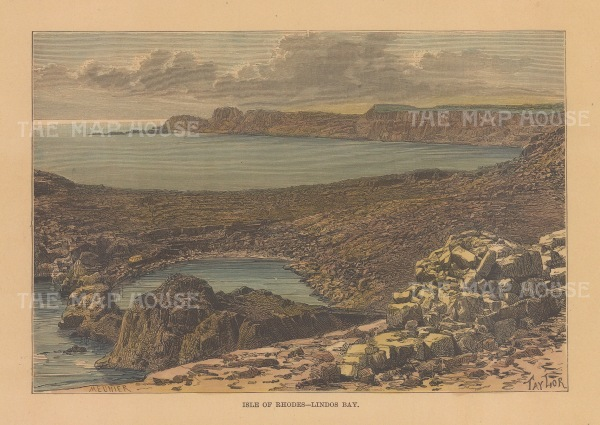 "Reclus: Lindos Bay, Rhodes. 1894. A hand coloured original antique wood engraving. 8"" x 5"". [GRCp898]"