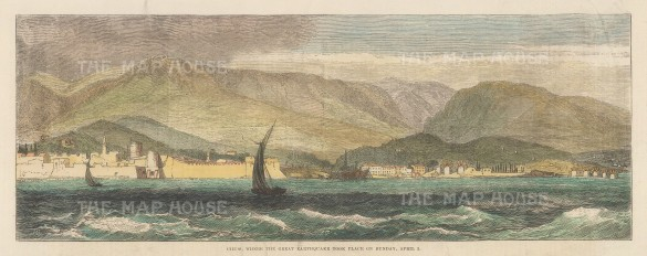 "Illustrated London News: Castro, Chios. 1881. A hand coloured original antique wood engraving. 13"" x 5"". [GRCp900]"