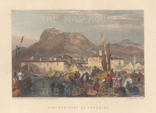 "Fullarton & Co.: Port Kenkries, Corinth. 1856. A hand coloured original antique steel engraving. 6"" x 4"". [GRCp904]"