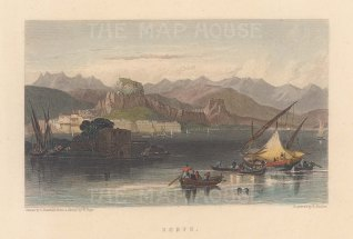 "Fullarton & Co.: Corfu. 1856. A hand coloured original antique steel engraving. 6"" x 4"". [GRCp905]"