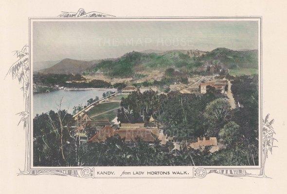 "Anonymous: Kandy. c1920. A hand coloured original vintage photolithograph. 14"" x 10"". [INDp788]"