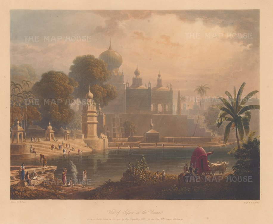 Pune: View of Saswad (Sassoor). Looking towards the Sardar Purandare Wada from the Sangameshwar temple at the confluence of the Chamli and Karha rivers. With a ruth drawn by oxen and attended by Marhatta horsmen for a lady of rank.