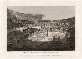 """Cottafavi: Colloseum, Rome. c1843. An original antique etching. 11"""" x 8"""". [ITp2077]"""