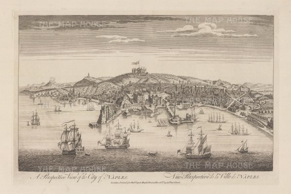Bird's eye view of Naples: from the Bay towards Castel St. Elmo with Vesuvius on the left.