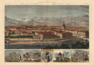Turin: Panoramic city view towards the Graian Alps with vignettes of principal buildings and key to mountain heights.