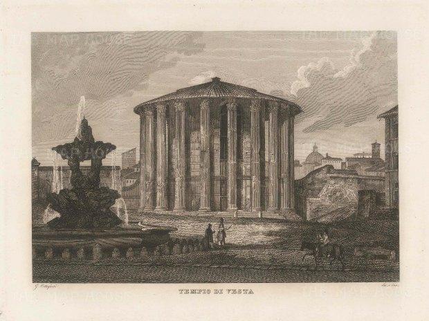 """Cottafavi: Temple of Vesta, the Forum, Porta Maggiore, Rome. c1843. An original antique etching. 11"""" x 8"""". [ITp2205]"""