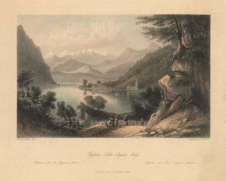 "Fisher: Lago di Lugano. c1840. A hand coloured original antique steel engraving. 8"" x 7"". [ITp2208]"