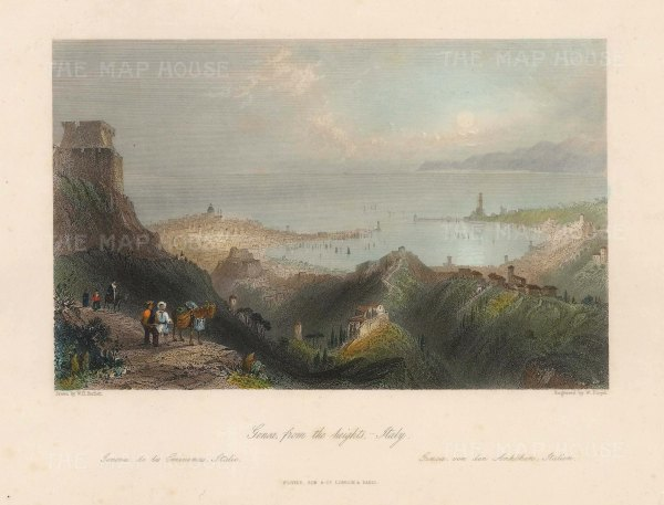 "Fisher: Genoa. c1840. A hand coloured original antique steel engraving. 8"" x 6"". [ITp2216]"