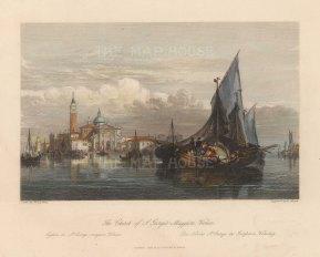 """Fisher: San Giorgio Maggiore, Venice c1840. A hand coloured original antique steel engraving. 8"""" x 7"""". [ITp2218]"""