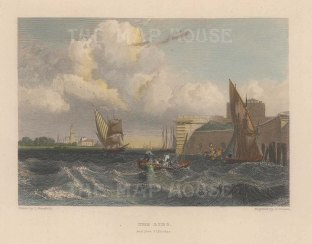 "Fullarton: Lido, Venice. 1856. A hand coloured original antique steel engraving. 6"" x 4"". [ITp2225]"