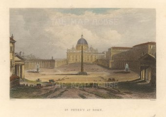 """Roberts: St Peter's, Rome. c1840. A hand coloured original antique steel engraving. 6"""" x 4"""". [ITp2229]"""