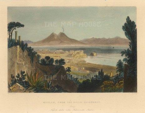 "Bartlett: Naples. c1840. A hand coloured original antique steel engraving. 6"" x 4"". [ITp2230]"