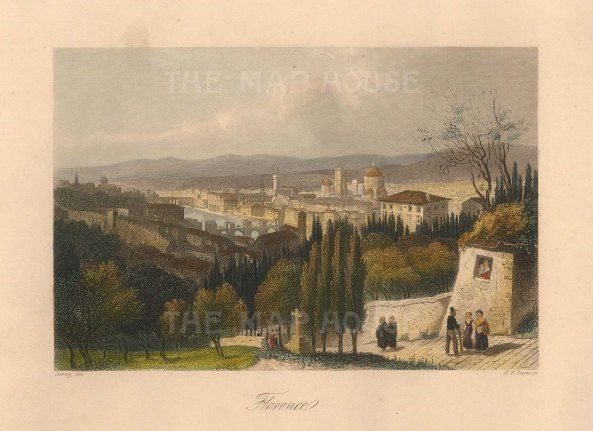 """Payne: Florence. c1835. A hand coloured original antique steel engraving. 6"""" x 4"""". [ITp2234]"""