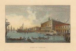 "Anonymous: Venice. c1840. A hand coloured original antique steel engraving. 4"" x 3"". [ITp2236]"