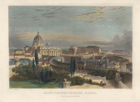 """Eastlake: St Peter's, Rome. c1870. A hand coloured original antique steel engraving. 8"""" x 7"""". [ITp2245]"""
