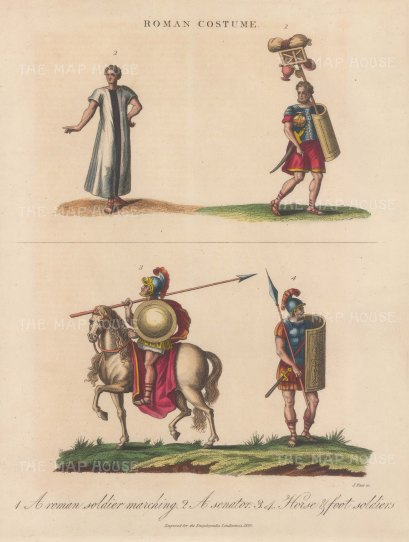 Roman Costume: Cavalry, Senator and Soldiers
