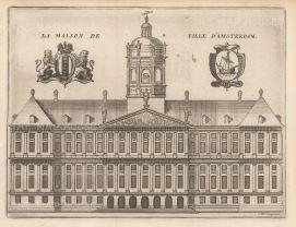 """de la Feuille: Town Hall, Amsterdam. c1720. An original colour antique copper engraving. 8"""" x 6"""". [NETHp172]"""