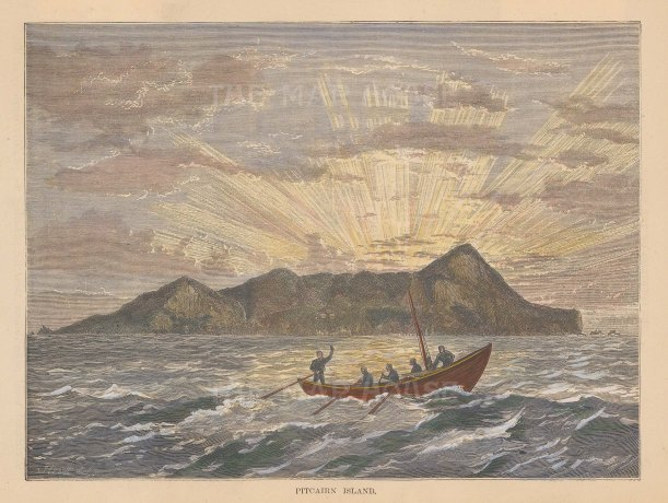 "Brown: Pitcairn Island. 1884. A hand coloured original antique wood engraving. 7"" x 5"". [PLYp170]"