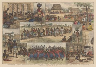"Illustrated London News: Fiji. 1885. A hand coloured original antique wood engraving. 19"" x 14"". [PLYp243]"