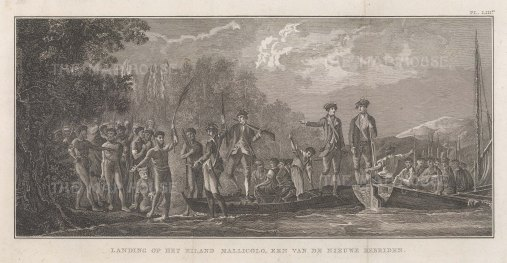 New Hebrides (Vanuatu): Malekula Island. Reception of Captain Cook. After William Hodge, artist on the Second Voyage. Dutch Edition.