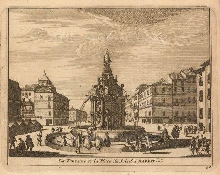 """Van der Aa: Plaza Puerta del Sol, Madrid. 1706. An original antique copper engraving. 5"""" x 4"""". [SPp1103]"""
