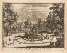 "Van der Aa: Fountain of the Dolphins, Aranjuez. 1706. An original antique copper engraving. 5"" x 4"". [SPp1106]"