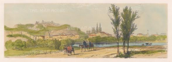 """Vivian: Burgos. 1838. An original colour antique lithograph. 15"""" x 5"""". [SPp858]"""