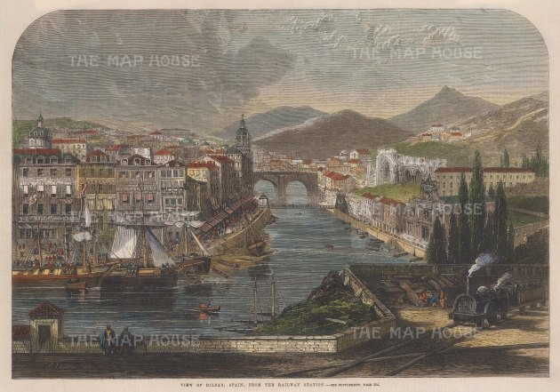 """Illustrated London News: Bilbao. 1862. A hand coloured original antique wood engraving. 14"""" x 10"""". [SPp999]"""