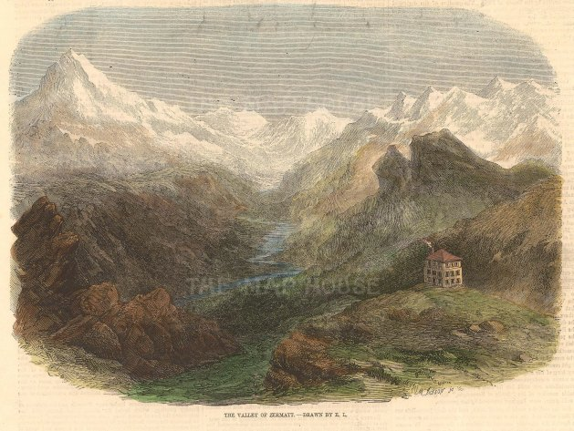 """Picturesque Europe: The Eiger, Bernese Alps. c1890. A hand coloured original antique wood engraving. 9"""" x 7"""". [SWIp771]"""